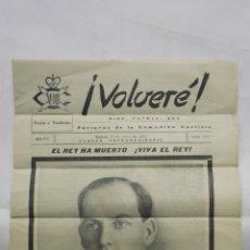 Coleccionismo de Revistas y Periódicos: VOLVERE, DIOS, PATRIA, REY - PORTAVOZ DE LA COMUNION CARLISTA, Nº 117 - ENERO 1954. Lote 176076779