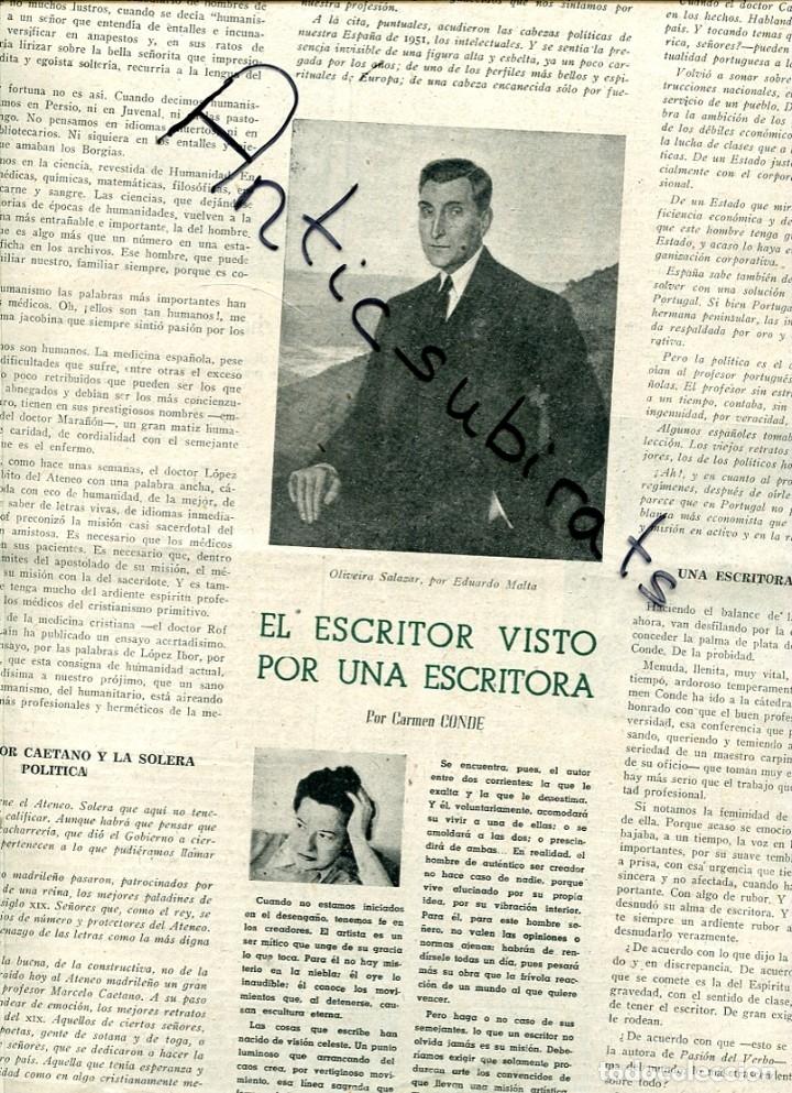 Coleccionismo de Revistas y Periódicos: PERIODICO 1951 GABRIELA MISTRAL CONDE DE YERBES OLIVEIRA SALAZAR EDUARDO MALTA CARMEN CONDE - Foto 2 - 176474960
