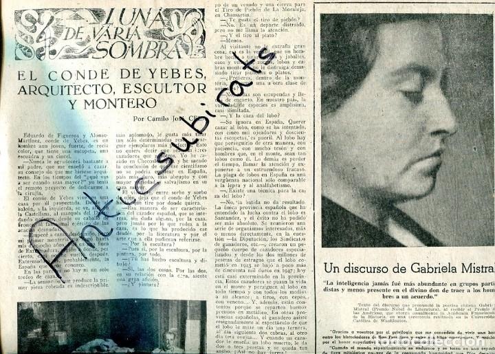 PERIODICO 1951 GABRIELA MISTRAL CONDE DE YERBES OLIVEIRA SALAZAR EDUARDO MALTA CARMEN CONDE (Coleccionismo - Revistas y Periódicos Antiguos (hasta 1.939))
