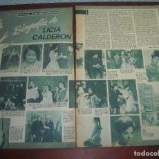 Coleccionismo de Revistas y Periódicos: RECORTE 42 X 28 CM- LICIA CALDERON BIOGRAFIA .-DIGAME AGOSTO DE 1970 - - VER DETALLES. Lote 176636088