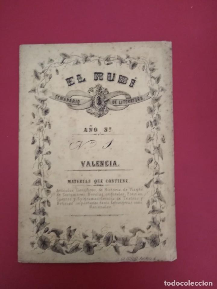 EL RUBI SEMANARIO DE LITERATURA VALENCIA AÑO 3 N 1 1861 (Coleccionismo - Revistas y Periódicos Antiguos (hasta 1.939))