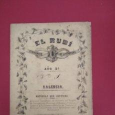 Coleccionismo de Revistas y Periódicos: EL RUBI SEMANARIO DE LITERATURA VALENCIA AÑO 3 N 1 1861. Lote 177289004