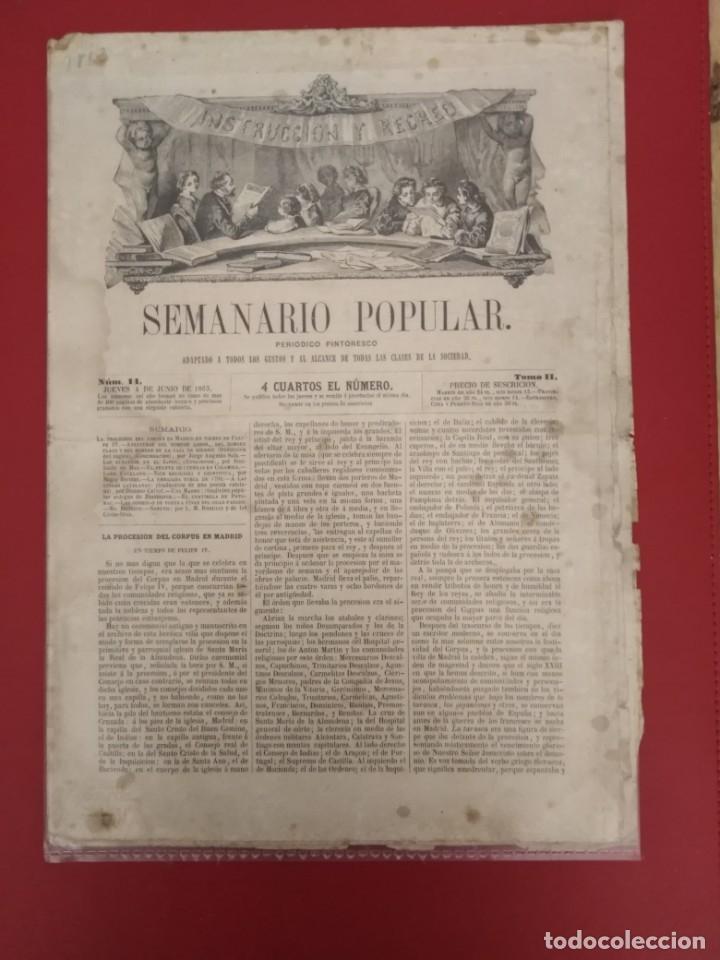 SEMANARIO POPULAR INSTRUCCION Y RECREO 1863 PERIODICO PINTORESCO (Coleccionismo - Revistas y Periódicos Antiguos (hasta 1.939))