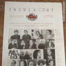 Coleccionismo de Revistas y Periódicos: INSULA 707 REVISTA DE LETRAS Y CIENCIAS HUMANAS 2005 POESIA MEXICANA . Lote 177949852