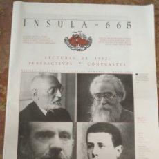 Coleccionismo de Revistas y Periódicos: INSULA 665 REVISTA DE LETRAS Y CIENCIAS HUMANAS 2002 LECTURAS DE 1902 . Lote 177950577