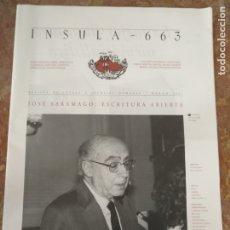 Coleccionismo de Revistas y Periódicos: INSULA 663 REVISTA DE LETRAS Y CIENCIAS HUMANAS 2002 - JOSE SARAMAGO . Lote 177950993