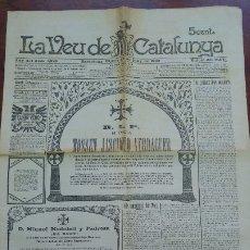 Coleccionismo de Revistas y Periódicos: DIARI LA VEU DE CATALUNYA Nº 1225 ANY 1902 MORT MOSSEN JACINTO VERDAGUER ESQUELA R.I.P. VALLVIDRERA. Lote 178053623