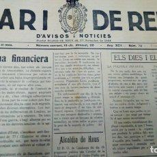 Coleccionismo de Revistas y Periódicos: DIARI DE REUS NUM 72 MARÇ 1936. Lote 178082239