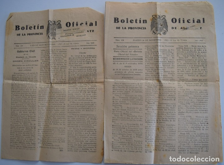 DOS BOLETIN OFICIAL DE ALICANTE NOVIEMBRE 1939, DIAS FESTIVOS TRASLADO RESTOS DE JOSE ANTONIO (Coleccionismo - Revistas y Periódicos Antiguos (hasta 1.939))