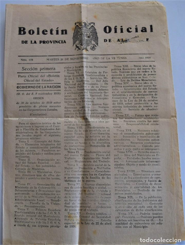 Coleccionismo de Revistas y Periódicos: DOS BOLETIN OFICIAL DE ALICANTE NOVIEMBRE 1939, DIAS FESTIVOS TRASLADO RESTOS DE JOSE ANTONIO - Foto 4 - 178135508
