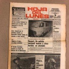 Coleccionismo de Revistas y Periódicos: HOJA DEL LUNES DEL 28 DE ENERO DE 1980. PERIÓDICO DE BILBAO. ATHLETIC CLUB 2-0 SALAMANCA, ATENTADO E. Lote 178306773