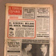 Coleccionismo de Revistas y Periódicos: EL CORREO ESPAÑOL, EL PUEBLO VASCO EDICIÓN VIZCAYA DE 10 MARZO 1981. MILANS DEL BOSCH PROCESADO,. Lote 178309111