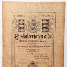 Coleccionismo de Revistas y Periódicos: EUSKALERRIAREN ALDE REVISTA DE CULTURA VASCA 1915 TOMO V Nº 117 MUY BUEN ESTADO. Lote 178630997
