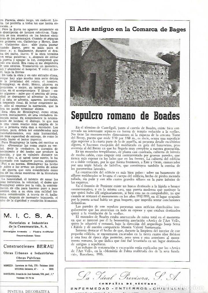 Coleccionismo de Revistas y Periódicos: AÑO 1958 MANRESA LA SEU PROYECTO TUNEL DEL CADI SEPULCRO ROMANO DE BOADES BAGES - Foto 2 - 10633464