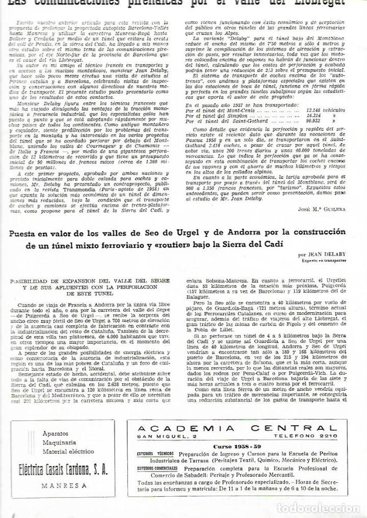 Coleccionismo de Revistas y Periódicos: AÑO 1958 MANRESA LA SEU PROYECTO TUNEL DEL CADI SEPULCRO ROMANO DE BOADES BAGES - Foto 4 - 10633464