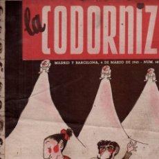 Coleccionismo de Revistas y Periódicos: LA CODORNIZ Nº 187 - 4 III 1945. Lote 178933093