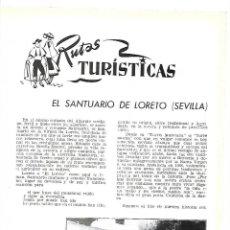 Coleccionismo de Revistas y Periódicos: AÑO 1954 SEVILLA SANTUARIO DE LORETO PROCESION JEREZ RIO VIEJO DOMECQ HOTEL ALFONSO XIII SEVILLA. Lote 178985833