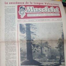 Coleccionismo de Revistas y Periódicos: DIARIO MASCLETÁ JUNTA CENTRAL FALLERA VALENCIA BOMBARDERO SEMANAL GRÁFICO LITERARIO 1 NOVIEMBRE 1952. Lote 179005561