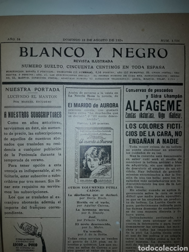 Coleccionismo de Revistas y Periódicos: Revista ilustrada blanco y negro de 1924 - Foto 2 - 179035412