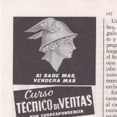 Coleccionismo de Revistas y Periódicos: PUBLICIDAD T 1961. ANUNCIO INSTITUTO AMERICANO. CURSO TECNICO DE VENTAS POR CORRESPONDENCIA. Lote 179049622