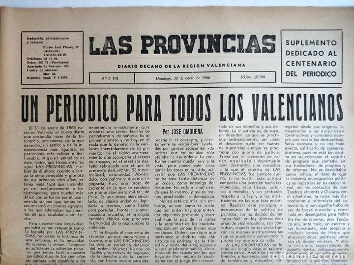 Coleccionismo de Revistas y Periódicos: Especial periodico Valenciano Las Provincias cumple 100 años - 1866 - 1966 - Foto 2 - 179101691