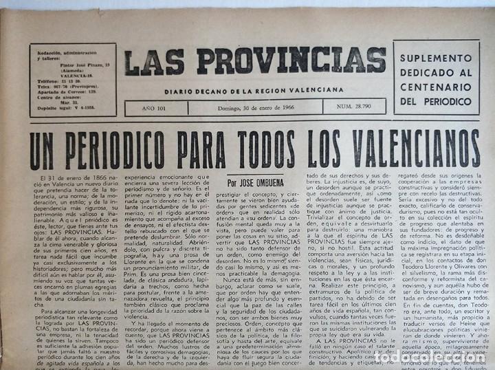 Coleccionismo de Revistas y Periódicos: Especial periodico Valenciano Las Provincias cumple 100 años - 1866 - 1966 - Foto 3 - 179101691