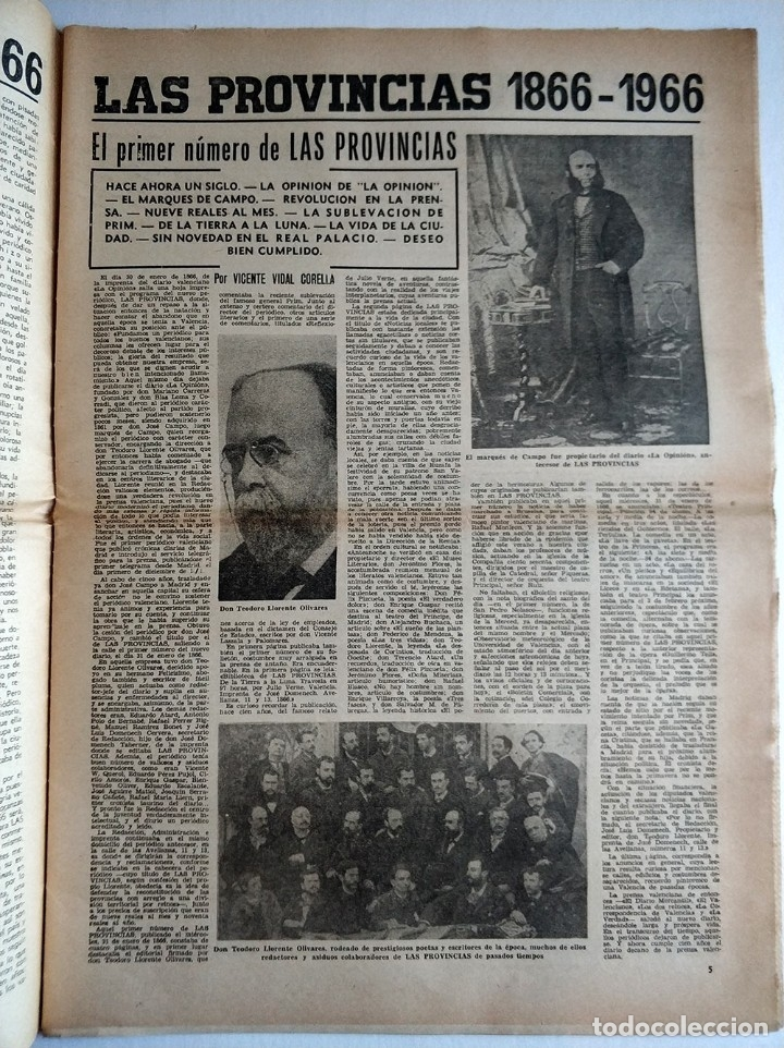 Coleccionismo de Revistas y Periódicos: Especial periodico Valenciano Las Provincias cumple 100 años - 1866 - 1966 - Foto 4 - 179101691
