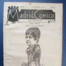 Coleccionismo de Revistas y Periódicos: MADRID CÓMICO - CASTELLÓN (APUNTES DE VIAJE) 17-SEP-1887 Nº239 - AÑO VII - PORTADA : ANTONIA GARCÍA. Lote 179103703