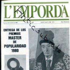 Coleccionismo de Revistas y Periódicos: REVISTA AÑO 1980 SALVADOR DALI CON BARRETINA EN PORTADA FRANCINE LAMBERT INAUGURACION EXPOSICION. Lote 179113291