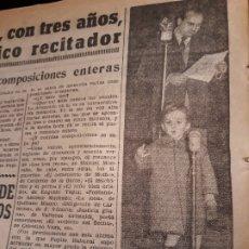 Coleccionismo de Revistas y Periódicos: PEPITO RABANAL , EL NIÑO DE MERIDA QUE CON TRES AÑOS ES UN MAGNIFICO RECITADOR - HOJA DE 1953.. Lote 179323395
