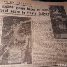 Coleccionismo de Revistas y Periódicos: UNA INGLESA QUIERE HACER SU TESIS DOCTORAL SOBRE LAS FALLAS .JANET AYNSLEY HOJA PERIODICO AÑO 1953. Lote 179324126
