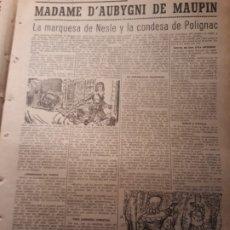 Coleccionismo de Revistas y Periódicos: MUJERES DUELISTAS - MADAME D´ AUBYGNI DE MAUPIN - SU VIDA - HOJA PERIODICO AÑO 1953 . Lote 180035227