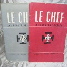 Coleccionismo de Revistas y Periódicos: LE CHEF. LES SCOUTS DE FRANCE. LOTE 2 REVISTAS 1951. Lote 180102912