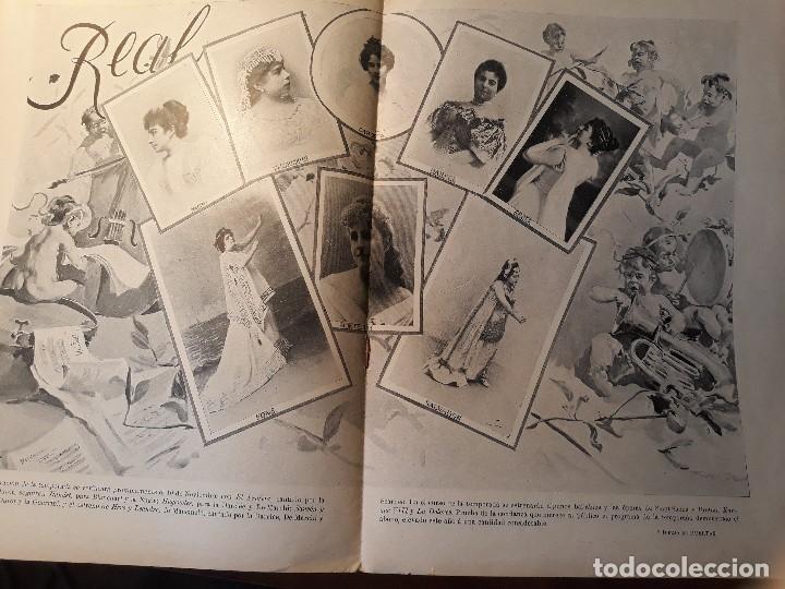 GRAN LAMINA CON INFORMACION E IMAGENES DE LA TEMPORADA DEL TEATRO REAL DE MADRID - 1897-98 (Coleccionismo - Revistas y Periódicos Antiguos (hasta 1.939))
