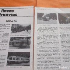 Coleccionismo de Revistas y Periódicos: ARTICULO 1980 - TRANVIA BARCELONA LINEA 56 - 2 PAGINAS DIA DESPEDIDA LINEA - RENFE FERROCARRIL AUTO . Lote 180259632