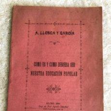 Coleccionismo de Revistas y Periódicos: COMO ES Y COMO DEBERÍA SER NUESTRA EDUCACIÓN POPULAR - ELCHE 1896 - A. LLORCA Y GARCIA. Lote 180328937