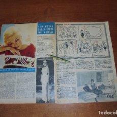 Coleccionismo de Revistas y Periódicos: CLIPPING 1963: KIM NOVAK. MARÍA SCICOLONE (HERMANA SOFÍA LOREN). LINO PURO.. Lote 180395802