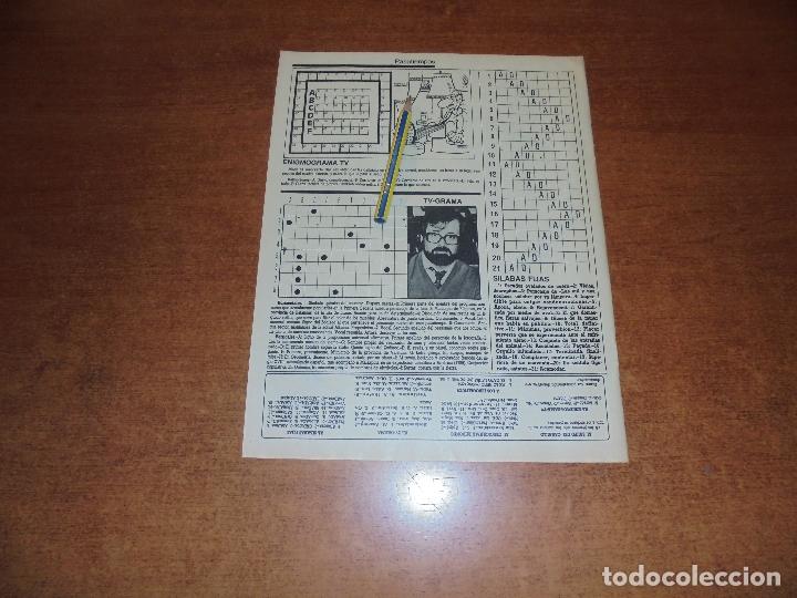 CLIPPING 1986: CRUCIGRAMA TV-GRAMA DEDICADO A CHICHO IBAÑEZ SERRADOR DEL UN, DOS, TRES... (Coleccionismo - Revistas y Periódicos Modernos (a partir de 1.940) - Otros)