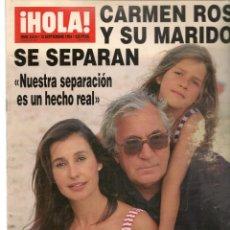 Coleccionismo de Revistas y Periódicos: HOLA. Nº 2614. 15/9/1994. CARMEN ROSSI Y SU MARIDO SE SEPARARN. SONIA MARTINEZ HA MUERTO. (P/B78). Lote 180872307