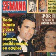 Coleccionismo de Revistas y Periódicos: SEMANA. Nº 2838. 6/7/1994. ROCIO JURADO Y JOSÉ SE CASAN. EMILIO ARAGÓN. LAURA DEBILDOS Y RAFI(P/B78). Lote 180873296