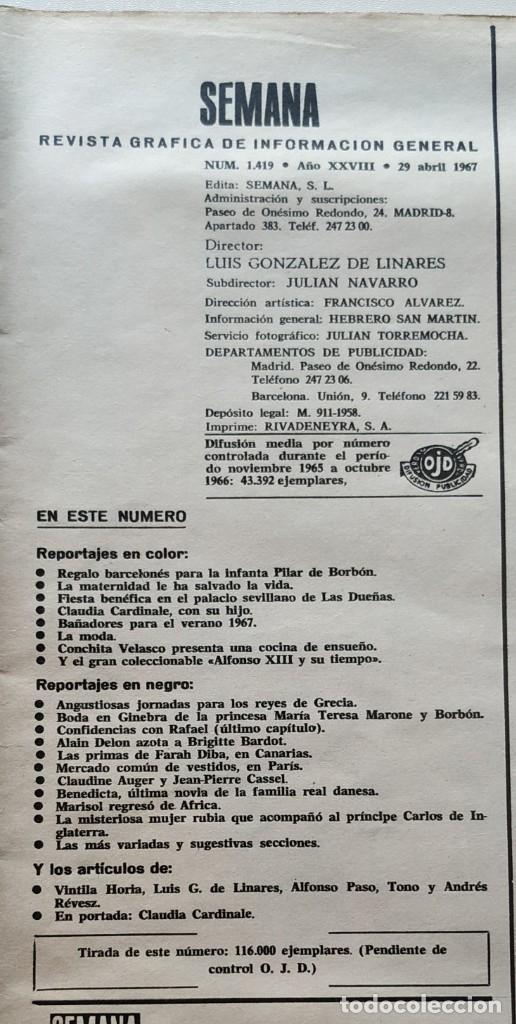 Coleccionismo de Revistas y Periódicos: Revista SEMANA 1419 Claudia Cardinale Raphael Brigitte Bardot Marisol Conchita Velasco - Foto 2 - 181133650