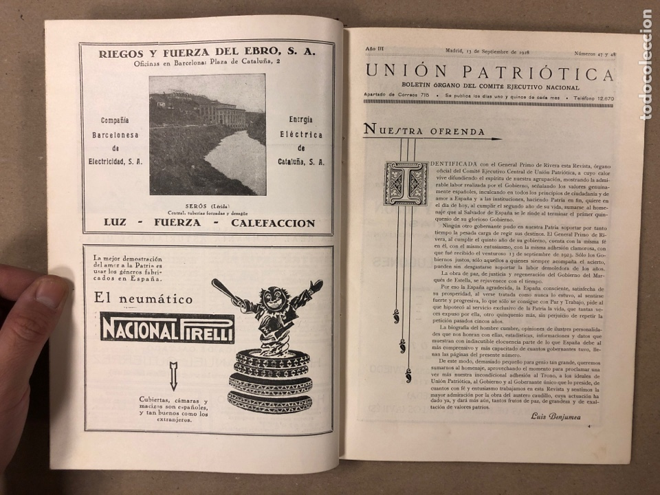Coleccionismo de Revistas y Periódicos: UNIÓN PATRIÓTICA AÑO III N° 47 y 48 (1928). ESPECIAL MIGUEL PRIMO DE RIVERA Y ORBANEJA. ENCUADERNADO - Foto 4 - 181415508