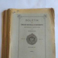 Coleccionismo de Revistas y Periódicos: 17 BOLETINES COMISIÓN PROVINCIAL DE MONUMENTOS DE ORENSE. TOMO VIII, 1927 -29. GALICIA.. Lote 181556472