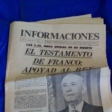 Coleccionismo de Revistas y Periódicos: PERIÓDICO ´INFORMACIONES´ CON EL ´TESTAMENTO DE FRANCO: APOYAD AL REY´... JUEVES 20 NOV. 1975. Lote 181898598