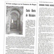 Coleccionismo de Revistas y Periódicos: AÑO 1958 SANTA MARIA DE MATADARS ARTE ANTIGUO COMARCA DEL BAGES MANRESA PRE ROMANICO PONT VILOMARA. Lote 10655988