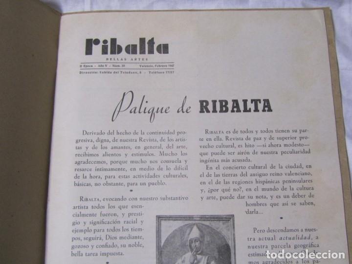 Coleccionismo de Revistas y Periódicos: Revista Ribalta bellas artes nº 38 1947 Valencia - Foto 5 - 182320607