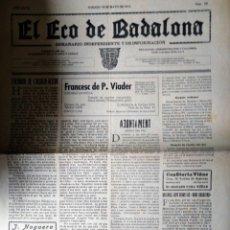 Coleccionismo de Revistas y Periódicos: EL ECO DE BADALONA 1935 N 20. Lote 182512473