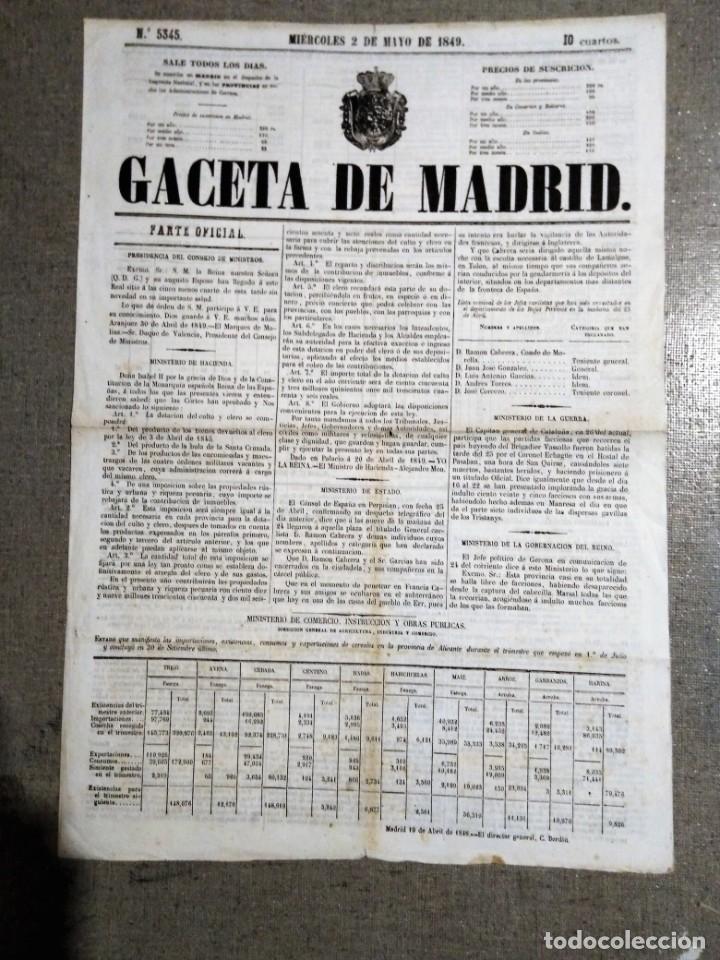 GACETA DE MADRID 1849 2 MAYO MIERCOLES 2 MAYO DE 1849 N 5345 (Coleccionismo - Revistas y Periódicos Antiguos (hasta 1.939))