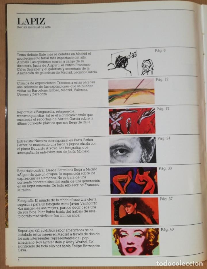 Coleccionismo de Revistas y Periódicos: Lápiz, revista mensual de arte n 3 - Feb 1983 - Foto 5 - 182664270