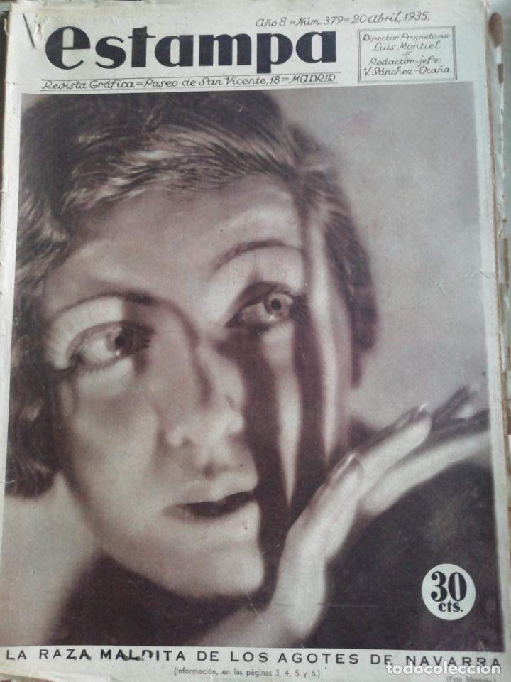 REVISTA ESTAMPA 1935 RAZA AGOTES NAVARRA VALLE BAZTAN-CASTILLOS EXTREMADURA-RUTA GENERAL GOMEZ (Coleccionismo - Revistas y Periódicos Antiguos (hasta 1.939))
